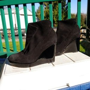 Kenneth Cole suede patent wrap snap wedge booties
